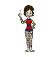 comic cartoon woman covered in tattoos vector image vector image