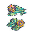 creative hand drawn flowers set doodle flowers vector image vector image