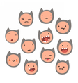 Cute cat face emotions vector image vector image