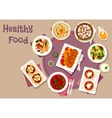 Dinner dishes with dried fruits icon vector image