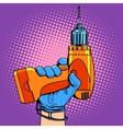 Drill in hand work repair vector image vector image