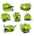 eco green isolated icon set for ecology design vector image vector image