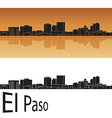 El paso skyline in orange background vector | Price: 1 Credit (USD $1)