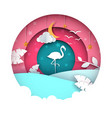 flamingo cartoon paper landscape vector image vector image