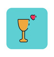 flat color love glass icon vector image
