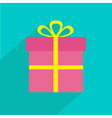 Gift box with ribbon and bow Flat design shadow vector image vector image