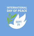greeting card for international day of peace vector image vector image