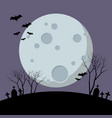 halloween night with bats flying over moon vector image vector image