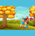 happy kids playing with autumn leaves vector image vector image