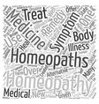Homeopathy 101 text background wordcloud concept vector image vector image