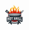 hot grill logo design template vector image vector image
