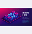 isometric mining pool landing page concept vector image vector image