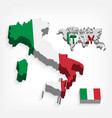 italy 3d flag and map vector image vector image