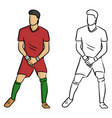 male soccer player forming a wall to protect the vector image vector image