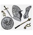 medieval symbols helmet and gloves shield vector image vector image