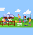 outdoor farm background active farmers working vector image
