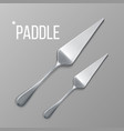 paddle silver metal paddle top view vector image vector image