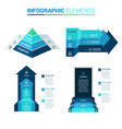 perspective arrow pyramid and door blue template vector image