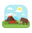 prehistoric landscape and volcano with mammoth vector image