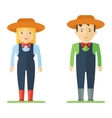 profession farmer man and woman vector image vector image