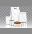 realistic pet food pack mock up set vector image vector image