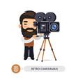 retro cameraman flat cartoon character vector image