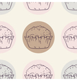 Retro seamless pattern with muffins vector image vector image