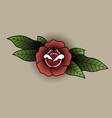 rose with leaves in the style of a tattoo vector image