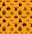 seamless pattern with black halloween icons vector image vector image