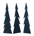 set dark blue flat spruce or christmas tree vector image