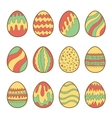 set painted easter eggs vector image vector image