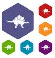 stegosaurus dinosaur icons set hexagon vector image vector image