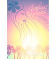 Tropical surfing beach girl with palm trees at vector image vector image