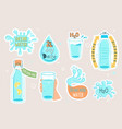 water set collection stickers icons vector image vector image