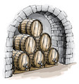 watercolor wine cellar with barrels vector image vector image
