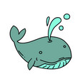 whale cartoon hand drawn image vector image