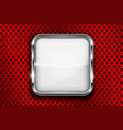 white button on red perforated background square vector image