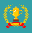 Winner gold cup icon with wreath in flat style