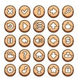 Wooden round video game buttons vector image vector image
