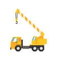 yellow truck mounted hydraulic crane cartage vector image vector image