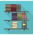 Bookshelf with many books vector image