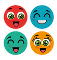 set faces style kawaii vector image