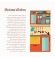 Kitchen counter concept with kitchen interior vector image