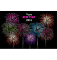Happy new year 2016 fireworks night poster vector image