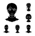 avatar and face black icons in set collection for vector image vector image