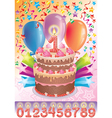 Birthday cake with the number age vector image