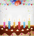 Birthday celebration with cake and decoration vector image