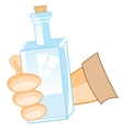 Bottle in hand of the person vector image vector image