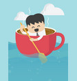 business concepts businessman who is in a cup of vector image