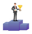 businessman holding trophy and showing certificate vector image vector image